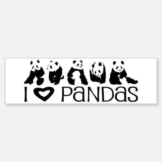 I Heart Pandas Sticker (Bumper)