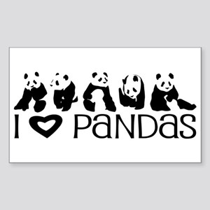 I Heart Pandas Sticker (Rectangle)