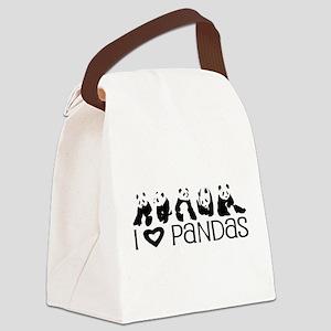 I Heart Pandas Canvas Lunch Bag