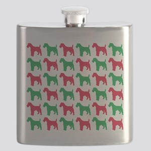 Schnauzer Christmas or Holiday Silhouettes Flask