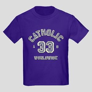 Catholic 33AD Embossed Kids Dark T-Shirt