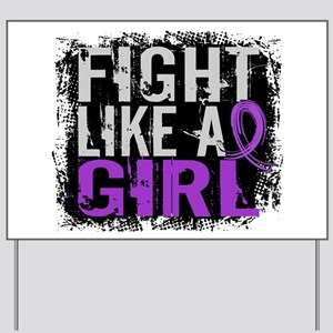 Licensed Fight Like a Girl 31.8 Pancreat Yard Sign