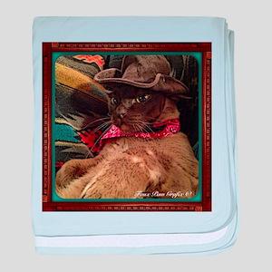 Cowboy Cat, 1, color baby blanket