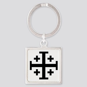 Crusaders Cross (Black) Square Keychain