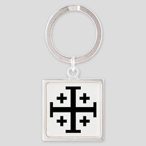 Crusaders Cross (Black) Square Keychain