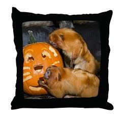 Tamarins Eating Pumpkin Throw Pillow