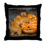 Tamarin With Pumpkin Throw Pillow