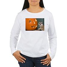 Meerkat Next to Pumpkin Women's Long Sleeve T-Shir
