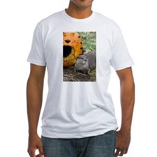 Otter With Pumpkin Fitted T-Shirt