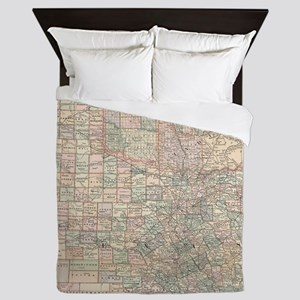 Vintage Map of Texas and Oklahoma (189 Queen Duvet