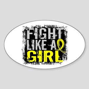 Licensed Fight Like a Girl 31.8 End Sticker (Oval)