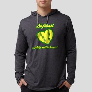 Play w Heart, Softball Mens Hooded Shirt
