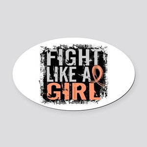 Licensed Fight Like a Girl 31.8 En Oval Car Magnet