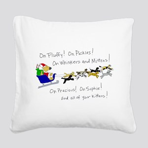 Doggy Claus & Kitty Reindeer Square Canvas Pillow