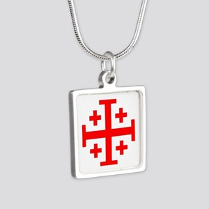 Crusaders Cross (Red) Silver Square Necklace