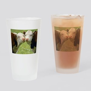 Kissing Cows Drinking Glass