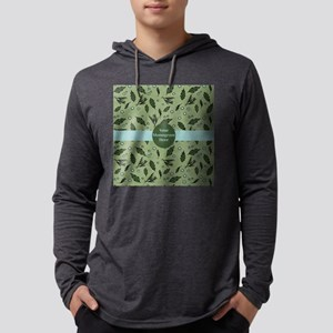 Green Leaf Pattern with Lt. Blue Mens Hooded Shirt