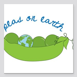 "Peas On Earth Square Car Magnet 3"" x 3"""