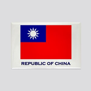 The Republic Of China Flag Gear Rectangle Magnet