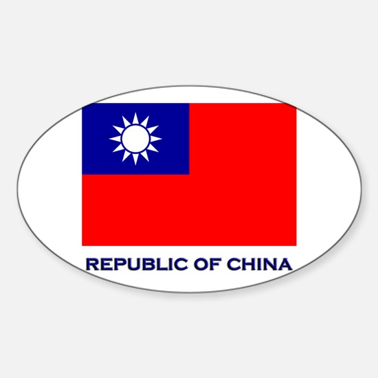 The Republic Of China Flag Gear Oval Decal