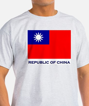 The Republic Of China Flag Gear Ash Grey T-Shirt