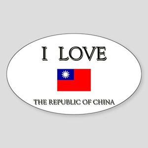 I Love The Republic Of China Oval Sticker