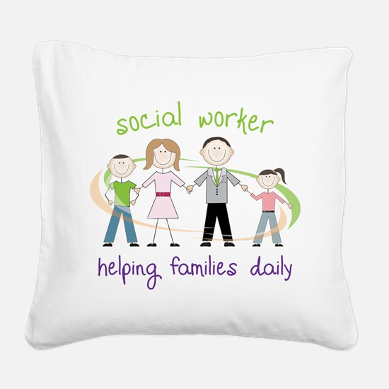 Helping Families Daily Square Canvas Pillow