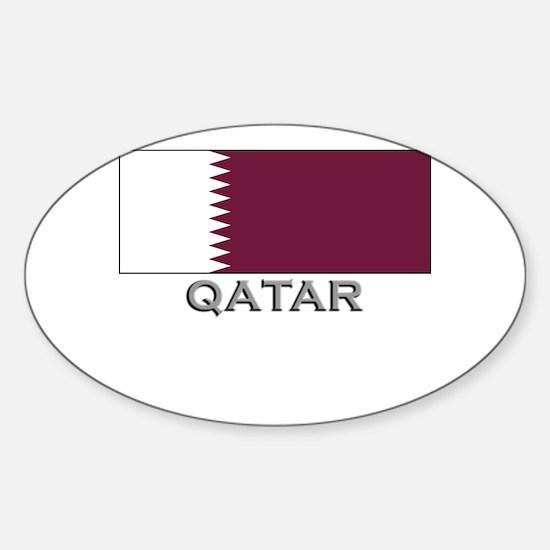 Qatar Flag Stuff Oval Decal