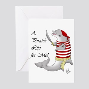 Pirate Dolphin Greeting Cards (Pk of 10)