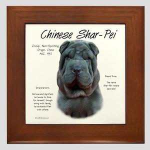 Shar-Pei (blue) Framed Tile