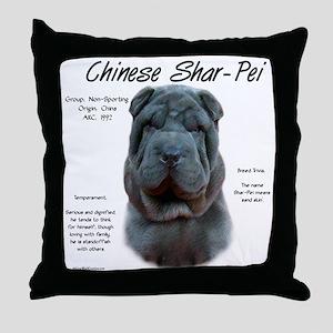 Shar-Pei (blue) Throw Pillow