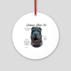 Shar-Pei (blue) Round Ornament