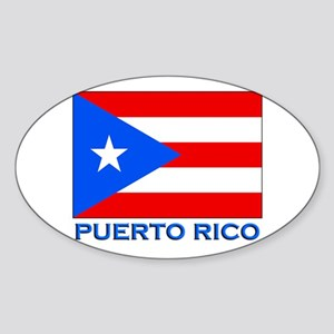 Puerto Rico Flag Gear Oval Sticker