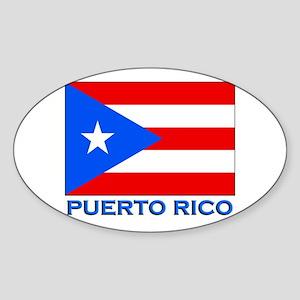 Puerto Rico Flag Gear Oval Sticker