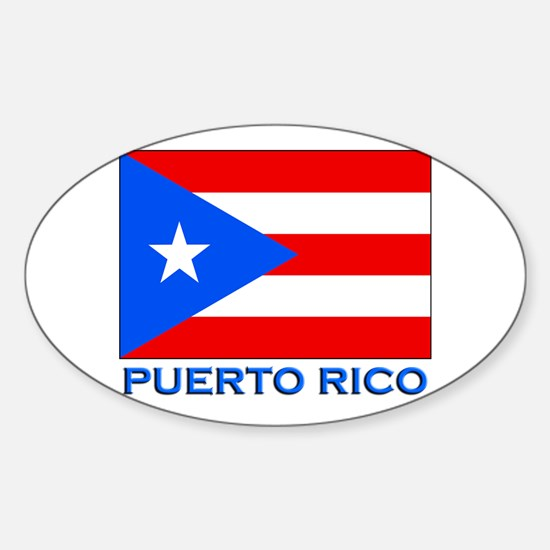 Puerto Rico Flag Gear Oval Stickers