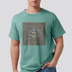 Old Cabin Window buck 2 Mens Comfort Colors Shirt