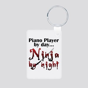 Piano Player Ninja Aluminum Photo Keychain
