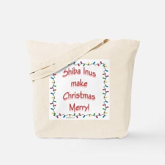 Merry Shiba Inu Tote Bag