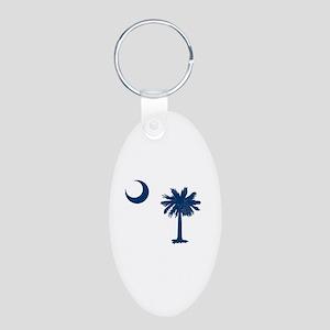 Palmetto & Cresent Moon Aluminum Oval Keychain