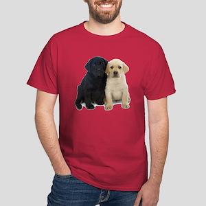 Black and White Labrador Puppies. Dark T-Shirt