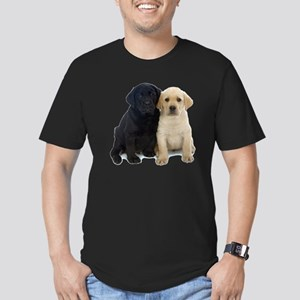 Black and White Labrador Puppies. Men's Fitted T-S