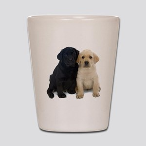 Black and White Labrador Puppies. Shot Glass