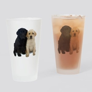 Black and White Labrador Puppies. Drinking Glass