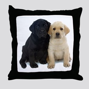 Black and White Labrador Puppies. Throw Pillow