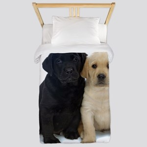 Black and White Labrador Puppies. Twin Duvet