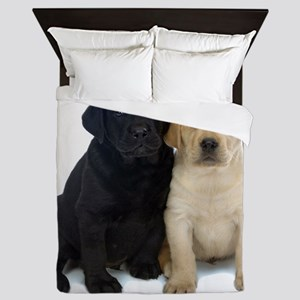 Black and White Labrador Puppies. Queen Duvet