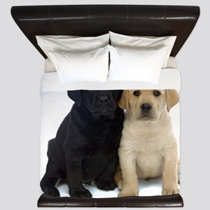 Black and White Labrador Puppies. King Duvet
