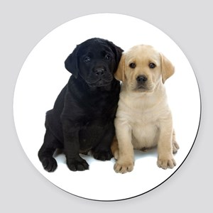 Black and White Labrador Puppies. Round Car Magnet