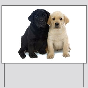 Black and White Labrador Puppies. Yard Sign