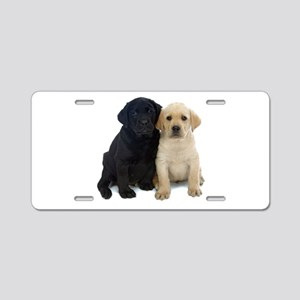 Black and White Labrador Puppies. Aluminum License